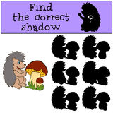 Children games: Find the correct shadow. Little cute hedgehog. Children games: Find the correct shadow. Little cute hedgehog stands near the big mushroom and Stock Photo