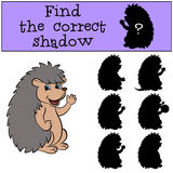 Children games: Find the correct shadow. Little cute hedgehog. Children games: Find the correct shadow. Little cute hedgehog waves his hand and smiles Stock Image