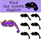 Children games: Find the correct shadow.. Little cute liliac chameleon smiles Royalty Free Stock Photos