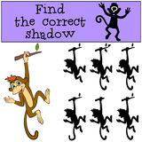 Children games: Find the correct shadow. Little cute monkey. Children games: Find the correct shadow. Little cute monkey hangs on the tree and waves Stock Image