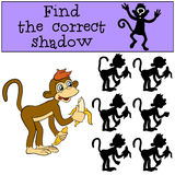 Children games: Find the correct shadow. Little cute monkey. Children games: Find the correct shadow. Little cute monkey holds bananas in the hands Royalty Free Stock Photos