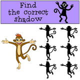 Children games: Find the correct shadow. Little cute monkey. Children games: Find the correct shadow. Little cute monkey jumps and smiles Royalty Free Stock Photos