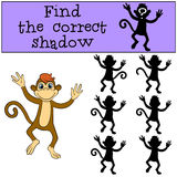 Children games: Find the correct shadow. Little cute monkey. Children games: Find the correct shadow. Little cute monkey runs and smiles Stock Image