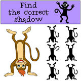 Children games: Find the correct shadow. Little cute monkey. Children games: Find the correct shadow. Little cute monkey stands upside down and smiles Royalty Free Stock Photography