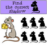 Children games: Find the correct shadow. Little cute mouse. Royalty Free Stock Photography