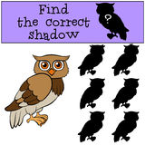 Children games: Find the correct shadow. Little cute owl. Children games: Find the correct shadow. Little cute owl smiles Royalty Free Stock Photos