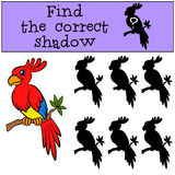 Children games: Find the correct shadow. Little cute parrot. Children games: Find the correct shadow. Little cute parrot sits on the tree branch and smiles Stock Photos