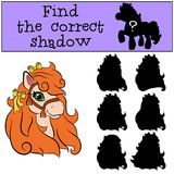 Children games: Find the correct shadow. Little cute pony. Stock Photography