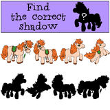 Children games: Find the correct shadow. Little cute pony. Children games: Find the correct shadow. Four little cute pony Royalty Free Stock Image
