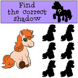 Children games: Find the correct shadow. Little cute pony. Stock Photos