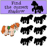 Children games: Find the correct shadow. Little cute pony. Royalty Free Stock Photos