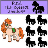 Children games: Find the correct shadow. Little cute pony. Stock Images