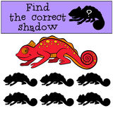 Children games: Find the correct shadow.. Little cute red chameleon smiles Royalty Free Stock Images
