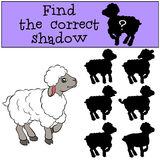 Children games: Find the correct shadow. Little cute sheep. Children games: Find the correct shadow. Little cute sheep smiles Stock Photography