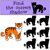 Children games: Find the correct shadow. Little cute tiger. Stock Photography