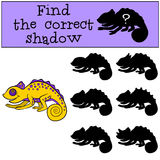 Children games: Find the correct shadow.. Little cute yellow chameleon smiles Royalty Free Stock Photos