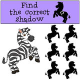 Children games: Find the correct shadow. Little cute zebra. Royalty Free Stock Photos