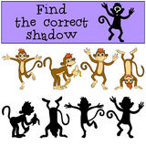 Children games: Find the correct shadow. Monkey. Stock Images