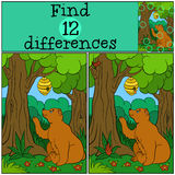 Children games: Find differences. Cute bear looks at the beehive. And in the forest Stock Photography