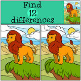 Children games: Find differences. Cute beautiful lion. Children games: Find differences. Cute beautiful lion stands on the hill and smiles Royalty Free Stock Images
