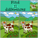 Children games: Find differences. Cute cow. Children games: Find differences. Cute cow stands and smiles in the field Royalty Free Stock Photography