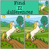 Children games: Find differences. Cute horse. Royalty Free Stock Photography