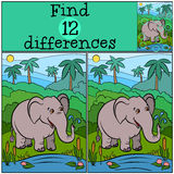 Children games: Find differences. Cute kind elephant. Stock Photography