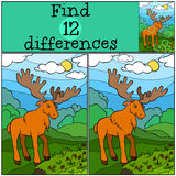 Children games: Find differences. Cute kind elk. Children games: Find differences. Cute kind elk stands in the clearing and looks at the berries Royalty Free Stock Photo