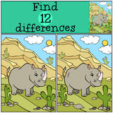 Children games: Find differences. Cute little rhinoceros. Stock Image