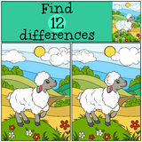 Children games: Find differences. Cute little sheep. Children games: Find differences. Cute little sheep stands on the grass hill and smiles Stock Photos