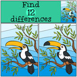 Children games: Find differences. Cute little toucan. Children games: Find differences. Cute little toucan sits on the tree branch and smiles Royalty Free Stock Photography