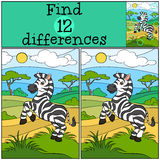 Children games: Find differences. Cute little zebra. Children games: Find differences. Cute little zebra stands on the field and smiles Royalty Free Stock Image