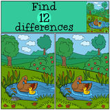 Children games: Find differences. Duck and cute  ducklings. Children games: Find differences. Duck and cute Stock Photography