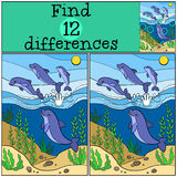 Children games: Find differences. Group of little cute dolphins Stock Image
