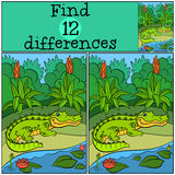 Children games: Find differences. Little cute alligator stands near the lake and smiles Stock Images