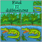 Children games: Find differences. Little cute alligator. Children games: Find differences. Little cute alligator stands in the water and smiles Royalty Free Stock Images