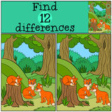 Children games: Find differences. Little cute baby foxes. Stock Images