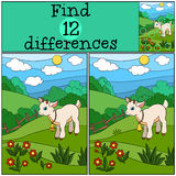 Children games: Find differences. Little cute baby goat. Royalty Free Stock Photography