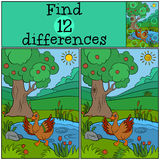 Children games: Find differences. Little cute duck. Children games: Find differences. Little cute duck runs from the pond and waves her wings. She is happy Stock Image