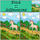 Children games: Find differences. Little cute foal. Stock Photography