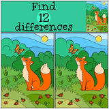 Children games: Find differences. Little cute fox looks at the butterfly. Children games: Find differences. Little cute fox looks at the butterfly and smiles Stock Photo