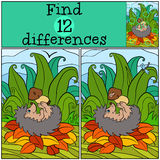 Children games: Find differences. Little cute hedgehog. Children games: Find differences. Little cute hedgehog lays and holds mushroom with worm in the hands Stock Photo