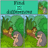 Children games: Find differences. Little cute hedgehog. Children games: Find differences. Little cute hedgehog stands in the forest and smiles Royalty Free Stock Photo