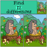 Children games: Find differences. Little cute hedgehog. Children games: Find differences. Little cute hedgehog stands on the stump and holds an apple in the Stock Images