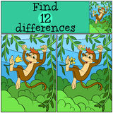 Children games: Find differences. Little cute monkey. Children games: Find differences. Little cute monkey hangs on the liana and holds a flower Royalty Free Stock Photo