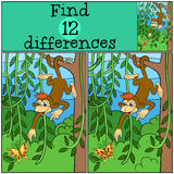 Children games: Find differences. Little cute monkey. royalty free illustration