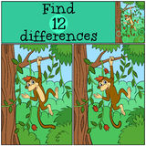 Children games: Find differences. Little cute monkey. Children games: Find differences. Little cute monkey hangs in the tree and smiles Stock Photos