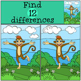 Children games: Find differences. Little cute monkey. Children games: Find differences. Little cute monkey runs and smiles Royalty Free Stock Images