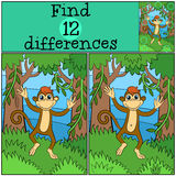 Children games: Find differences. Little cute monkey. Children games: Find differences. Little cute monkey runs and smiles in the forest Stock Photography