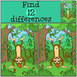 Children games: Find differences. Little cute monkey. Children games: Find differences. Little cute monkey stands upside down and smiles Royalty Free Stock Photography